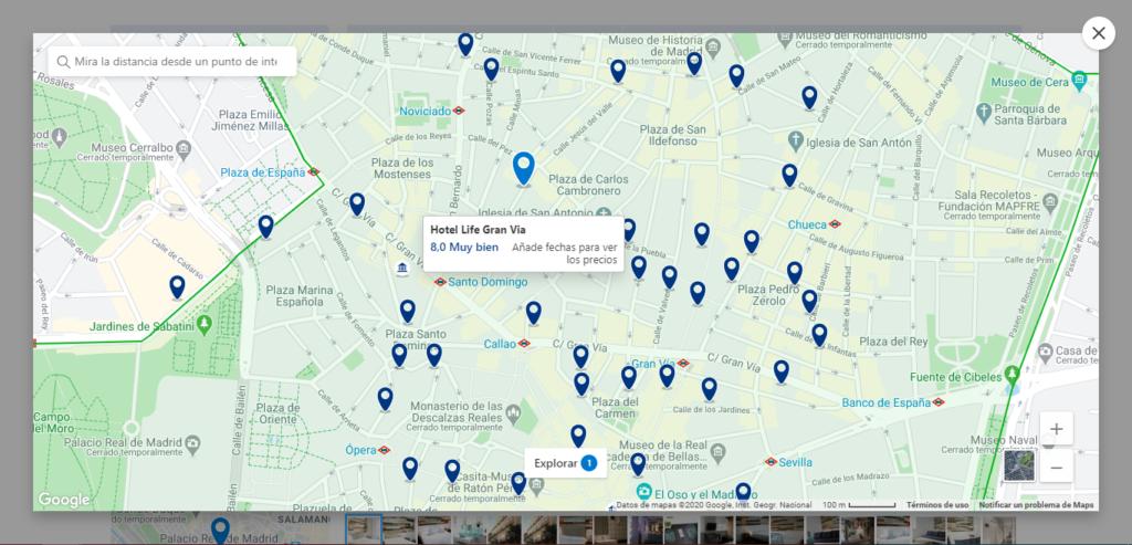 Busca tu hotel en el mapa de Madrid
